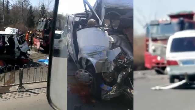 面包车撞上反向车道货车,致5死3伤