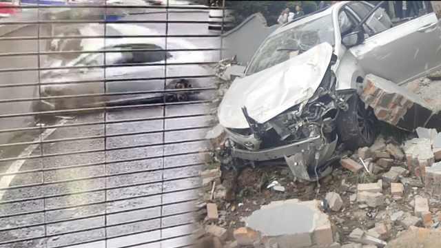 油门错当刹车踩,为避事故女子撞墙
