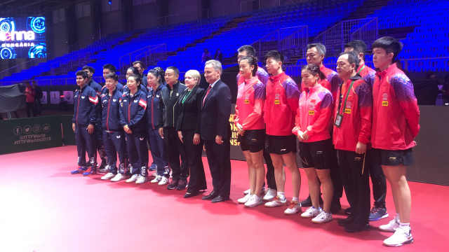 引关注!世乒赛前,中美乒乓球队合练