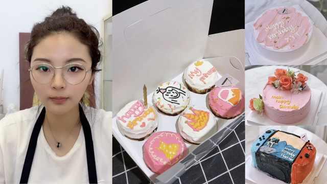漫画脸美女开ins风甜品店,定制蛋糕