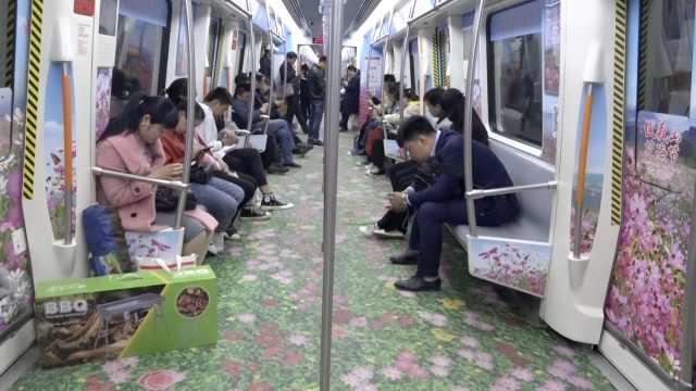鄭州地鐵現花海專列,市民爭相打卡