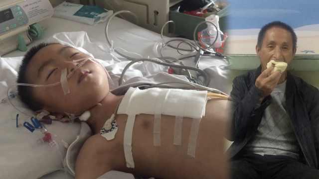 6岁孙炸伤住院,姥爷睡楼道啃馍照料