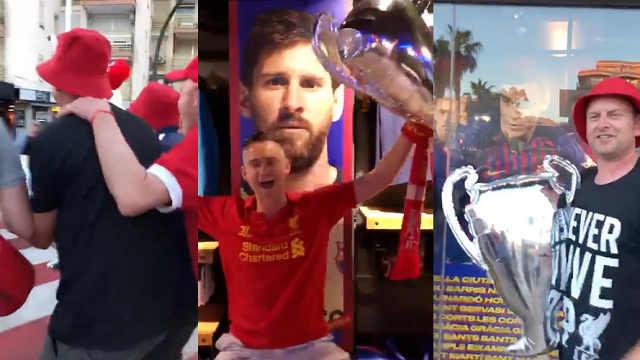 砸场子?利物浦球迷到巴萨商店庆祝