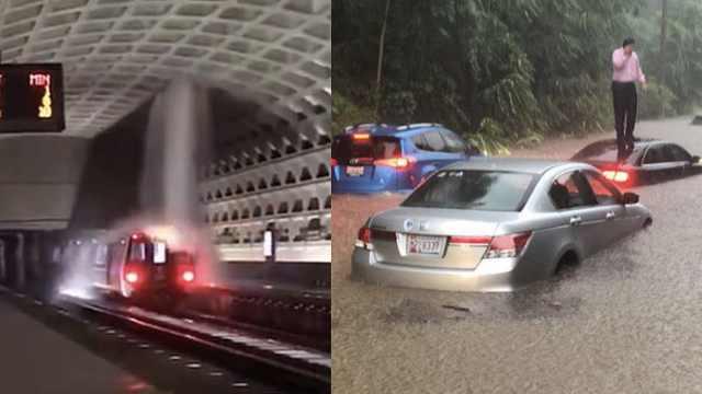 华盛顿遭超强暴雨,白宫地下室浸水