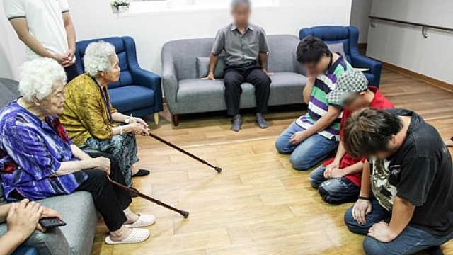 侮辱慰安妇少女像,韩男子下跪道歉