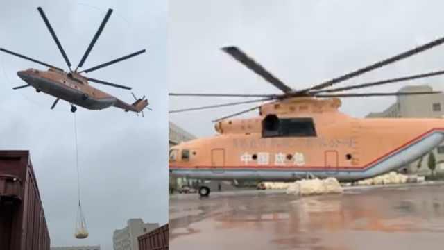 寿光河堤决口,直升机拉400吨砂封堵