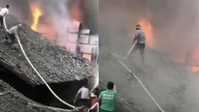 村民中断球赛合力救火,奖金全捐了