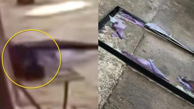 监拍:玻璃窗瞬间坠落,男子被砸中