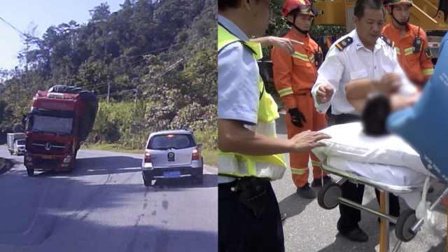 监控:货车甩尾侧翻,砸中小车3人伤