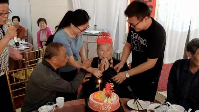 百岁老兵生日与国庆同天,愿5世同堂