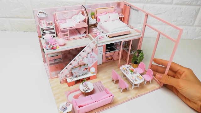 DIY粉色的甜蜜爱心小屋