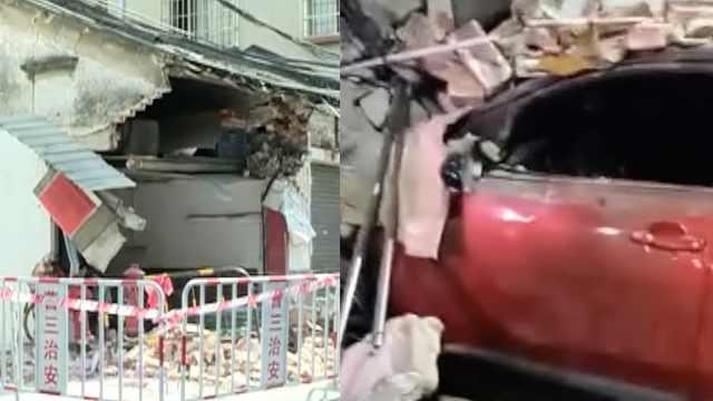 新手女司機開車撞穿民房:磚頭滿地