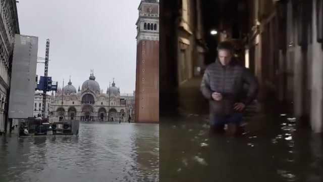 最高水位1.87米!大半威尼斯城被淹