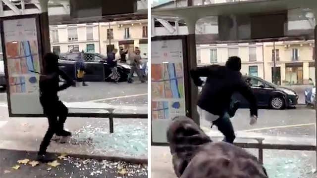 法国示威者遇上硬玻璃:实在砸不破