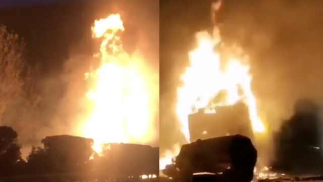 二广高速洛阳段罐车爆燃,火光冲天