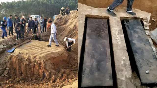 高速施工时发现清末古墓,棺椁完好