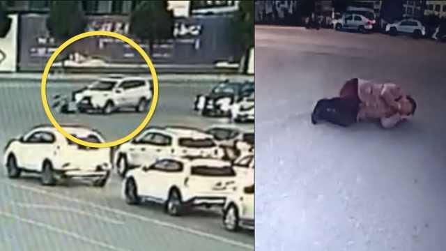行人不走斑马线,被小车撞飞骨折