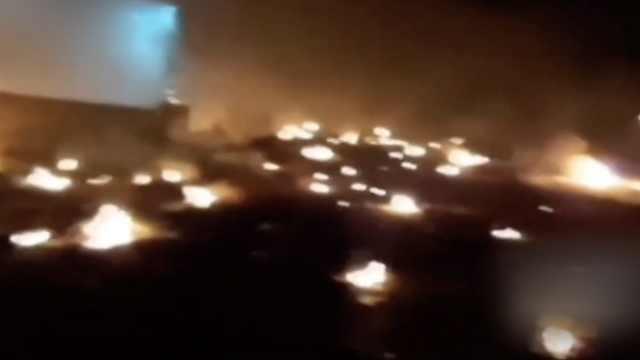 伊朗坠机燃烧画面曝光!遍地是火