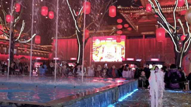 西安网红喷泉真成喊泉,游客排队吼