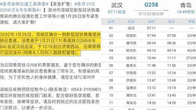 寻21日G258次乘客,同车已有人确诊