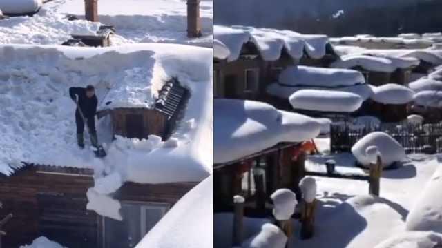 雪乡关园,居民爬屋顶清雪:怕被压塌