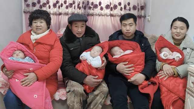安徽早产四胞胎康复,从2斤长到9斤