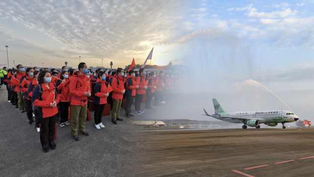 接风洗尘!重庆机场最高礼仪欢迎援鄂英雄回家,飞机