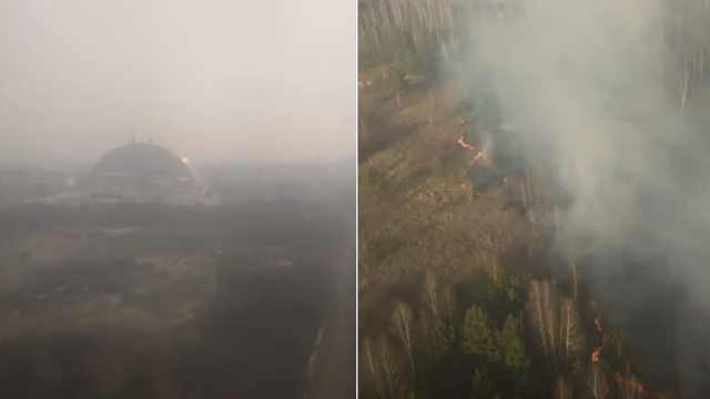 切尔诺贝利禁区山火持续,已逼近辐射物储存地,辐射量上升!