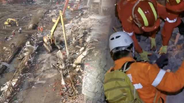 救援队温岭爆炸现场通宵搜救,他们用手刨出一