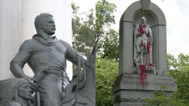 美国国父华盛顿雕塑被喷漆,老罗斯福像待拆,特朗普:荒谬!