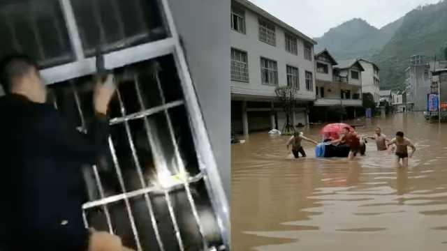 转院路上被困洪水,难产孕妇在轮胎上生子