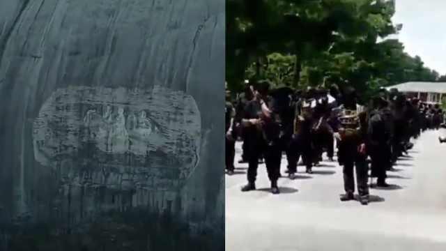 上百黑人穿黑衣持枪到白人至上圣地游行,要求拆除争议浮雕