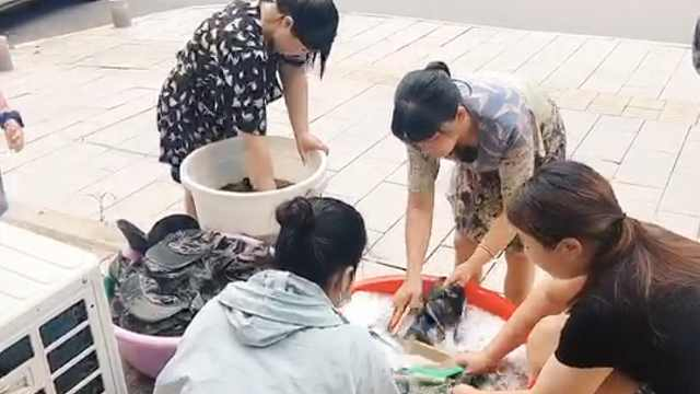 干洗店免费为抗洪战士洗衣服:倒出来是泥水,最多1天洗了500件