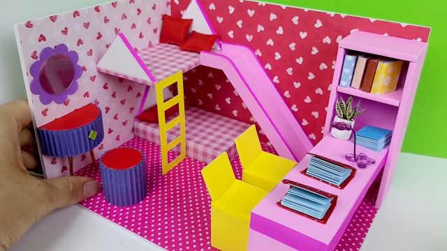 DIY迷你娃娃屋,简单整洁的粉色小卧室