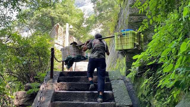 课本上的景点|华山6旬挑山工挑90斤鸡蛋,爬25里山路挣90元