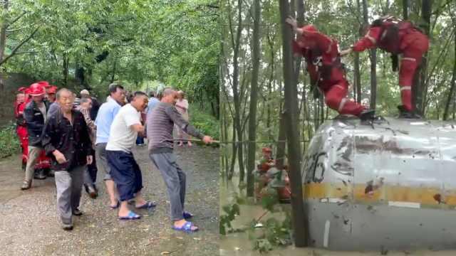 30立方液化气罐跨省漂到四川,村民在小树林将其拦截
