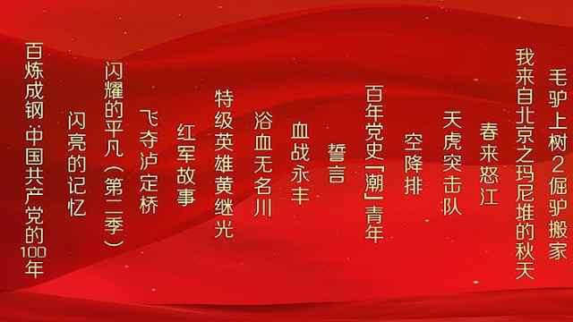 庆祝中国共产党成立100周年精品网络视听节目片单