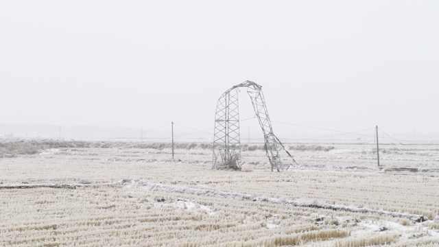 吉林市遇最强冻雨暴雪天气30万用户断电,工人顶风冒雪抢修