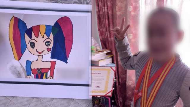 抚顺6岁被虐女童绘画获绘画大奖,取名《坚强的天使》