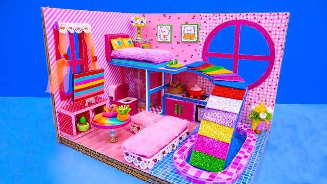 DIY迷你娃娃屋,宝宝的彩虹滑梯卧室