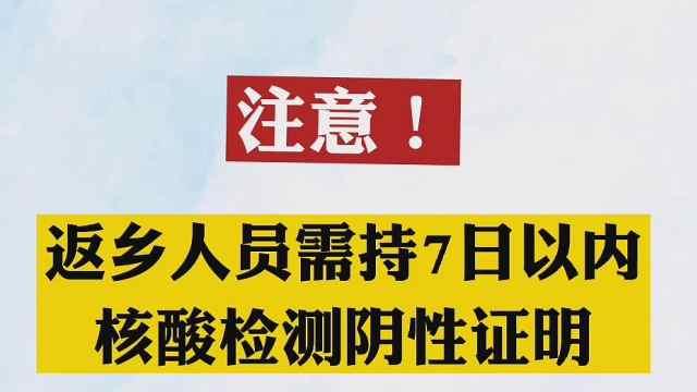 国家卫健委:返乡人员须持有7日内核酸阴性检测证明才能返乡