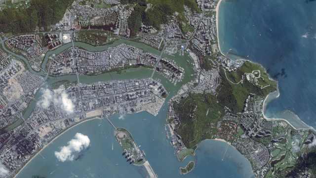 吉林一号视角下的华南港澳台鸟瞰图,香港迪斯尼建筑清晰