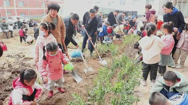 庆化幼儿园开展植树活动