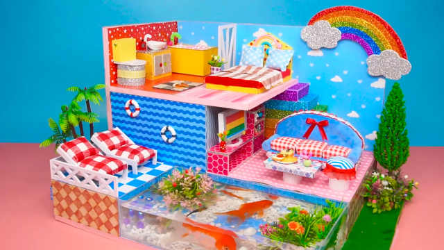 DIY迷你娃娃屋,蓝天白云设计的彩虹度假屋