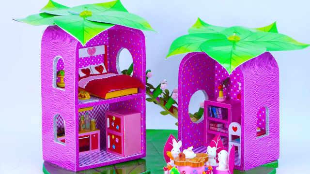 DIY迷你娃娃屋,荷叶上的粉色小别墅
