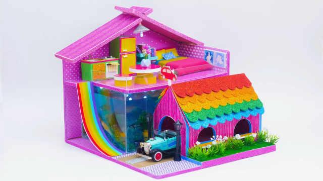 DIY迷你娃娃屋,鱼缸、车库一样不少的别墅