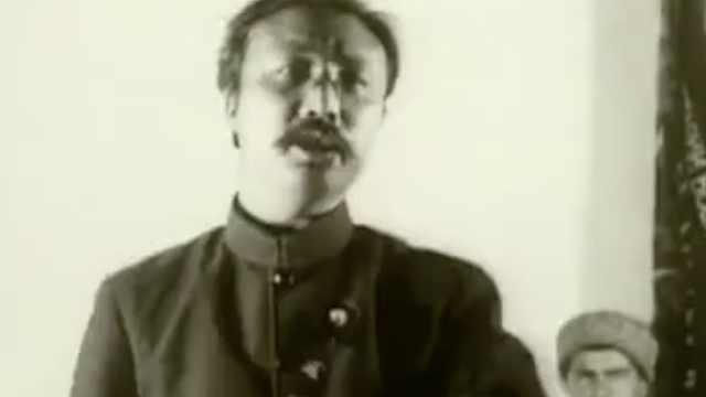 1924年李大钊在莫斯科大剧院演讲影像