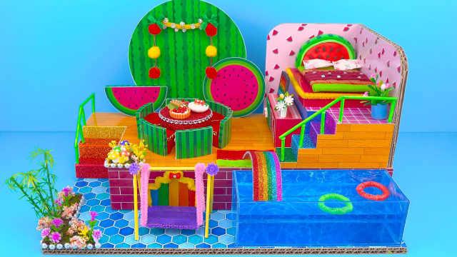 DIY迷你娃娃屋,绿油油的西瓜小别墅