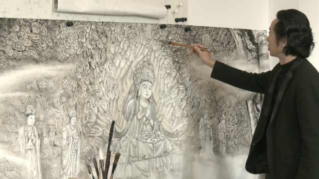 中国风版的大足石刻!重庆画家5年完成50米长画卷活灵活现