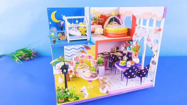 DIY迷你娃娃屋,月亮和太阳设计的婴儿别墅